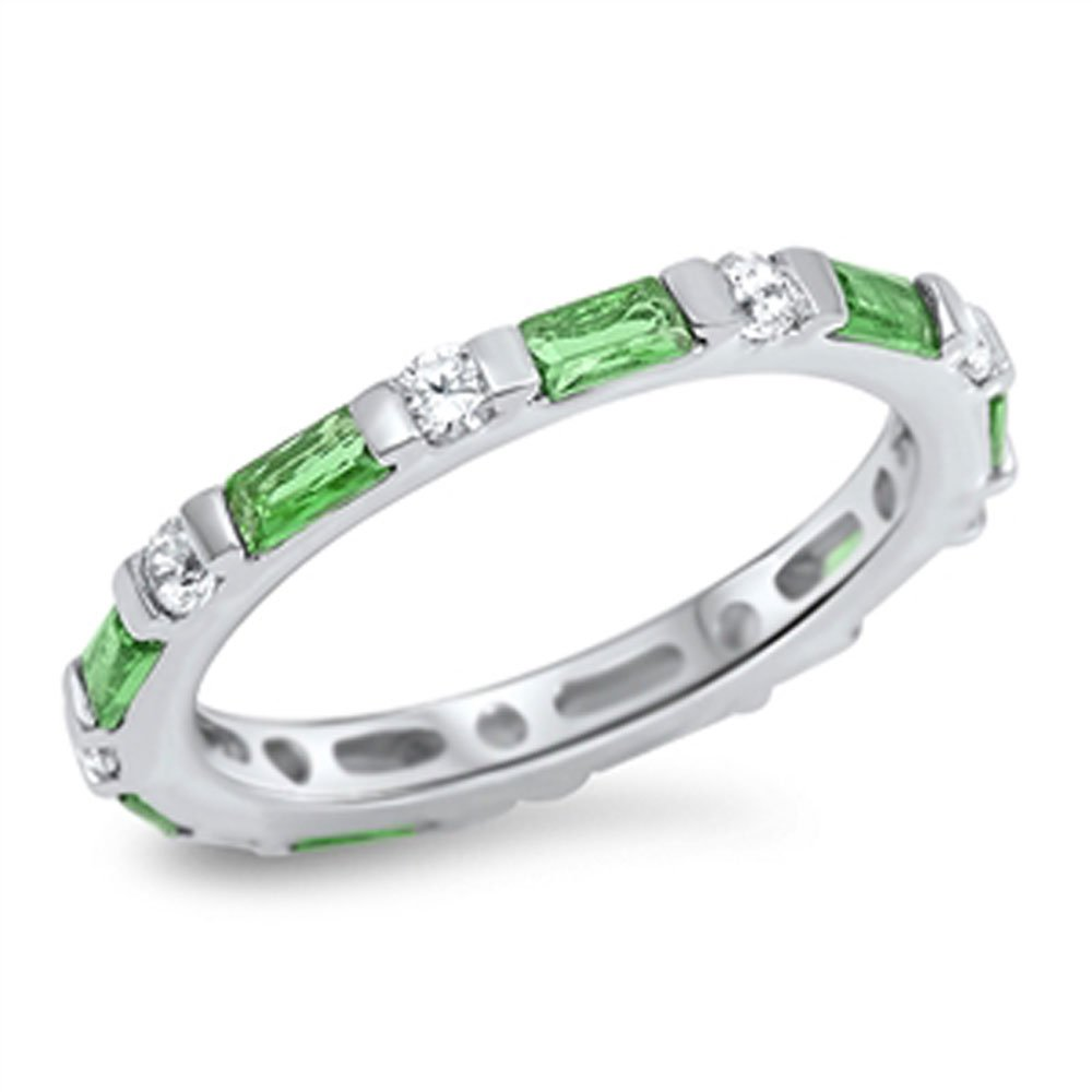 Sterling Silver Simulated Emerald CZ Baguette Eternity Band 3MM ( Size 4 to 10 ), 10