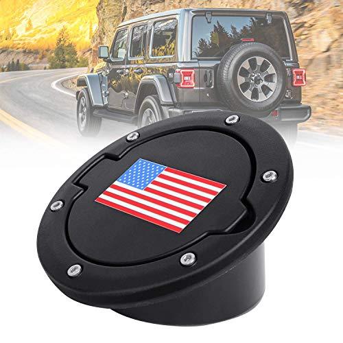 Fuel Filler Door Cover, Gas Tank Cap for 2007-2017 Jeep Wrangler JK & Unlimited 2-Door 4-Door (USA Flag-Red & Blue)