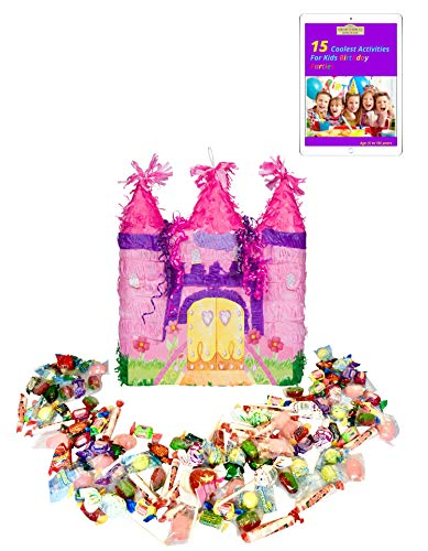 Filled Ya Otta Pink Castle Pinata Mexican Style Party Supplies Bundle with 2 pounds of Piñata Candy Filler and an eBook on Activities for Kids Birthday Parties from Ya Otta PInata