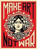 Make Art Not War Anti-War Peace Poster Print 18 x 24 inches