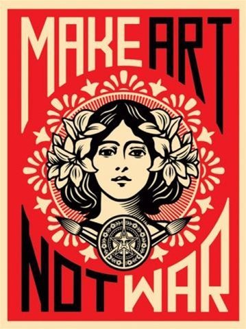 Make Art Not War Anti-War Peace Poster Print 18 x 24 inches by