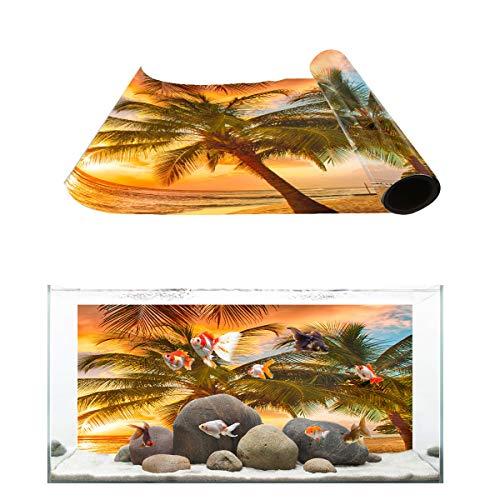 T&H Home Aquarium Décor Backgrounds - The Beautiful Scenery of Coconut Palm Fish Tank Background Aquarium Sticker Wallpaper Decoration Picture PVC Adhesive Poster, 48.8