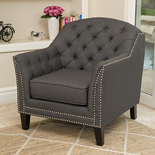Christopher Knight Home 296909 Coat Bridge Arm Chair, Dark Gray - Gray Coat Arms