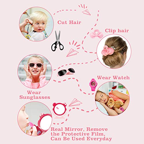 Cocojeci Girls Pretend Play Makeup Kit, Beauty Makeup Set for Kids Play Dress Up Cosmetic Toys with Makeup Brush, Hair Dryer, Mirror, Phone, Watch, Sunglasses, Ring, Scissor, 12PCS