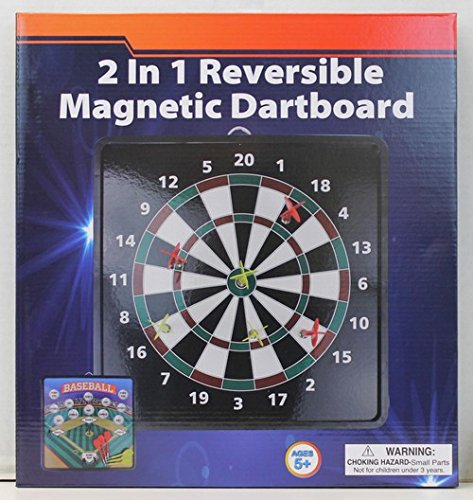Homeware 2-in-1 Reversible Magnetic Dartboard with Standard Darts & Baseball Game by Homeware