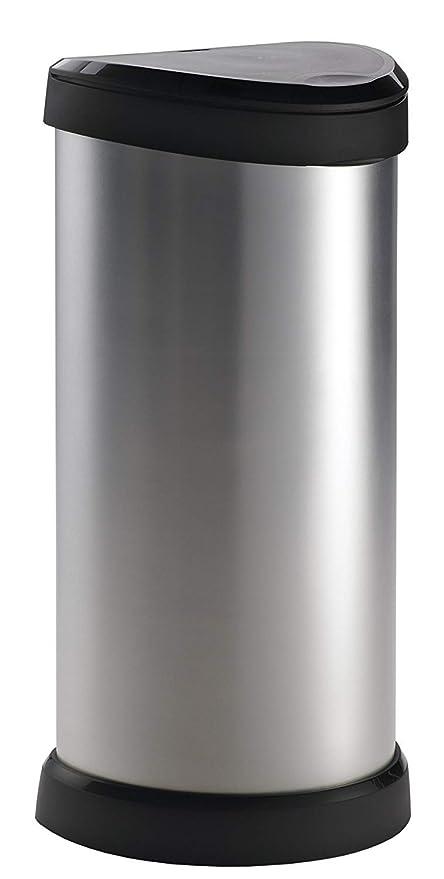 Curver 177729 Touch Papelera, mecanismo de apertura con toque, 40 L, color gris metálico