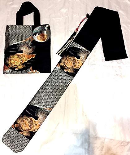 中国武術 刀袋 剣袋 シューズ バッグ セット (シルバー) リメイク 着物帯 使用 B07RNQV9DS