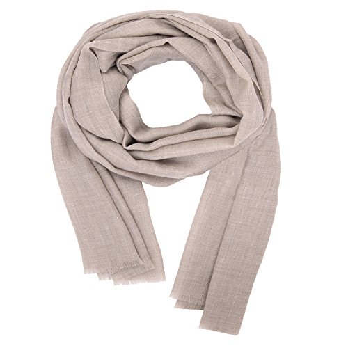 Handmade in Kashmir: 100% Handspun Cashmere Solid Winter Fashion Scarf Womens Mens Warm Soft Long Shawl Stole Beige Pashmina by Kashfab