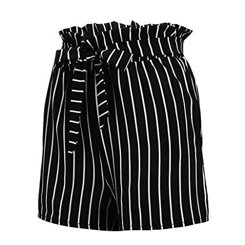 GREFER-Women Casual Stripe Bow-Tie Elastic Waist Summer Beach Jersey Walking Shorts Black