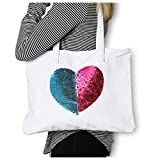 Canvas Tote Purse Mermaid Reversible Sequin Heart {Pink & Aqua} Funky Monkey Fashion