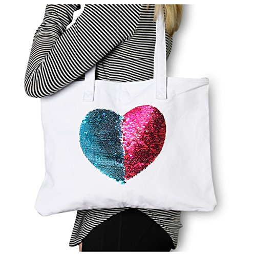 Canvas Tote Purse Mermaid Reversible Sequin Heart {Pink & Aqua} Funky Monkey Fashion by Funky Monkey Fashion