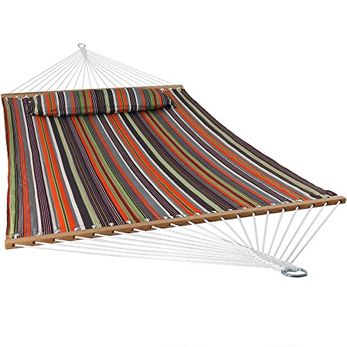 Sunnydaze Quilted Fabric Hammock Two Person with Spreader Bars Heavy Duty 450 Pound Capacity, Canyon Sunset (Hammock Fabric Quilted Large)