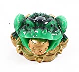 Feng Shui Money Frog (Three Legged Wealth Frog or Money Toad) Statue + Free Set of 10 Lucky Charm Ancient Coins on Red String, Attract Wealth and Good Luck,Feng Shui Decor