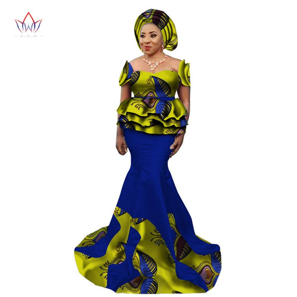 2018 New African Skirt Set for Women Dashiki Elegant African Clothes Applique Plus Size Traditional African Clothing