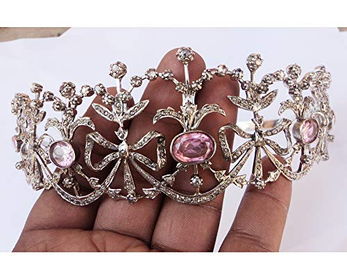 - Exclusive Pave Rose Cut Diamond Silver Tiara - Wedding Rose Cut Diamond Crown - 925 Sterling Silver Tiara Crown - Diamond 925 Silver Tiara - Handmade Pearl Silver Tiara - Hair Jewelry