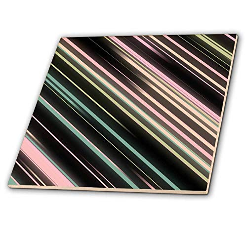 - 3dRose lens Art by Florene - Art Deco Patterns - Image of Black Pink And Mint Diagonal Stripes Art Deco Style - 8 Inch Glass Tile (ct_312635_7)