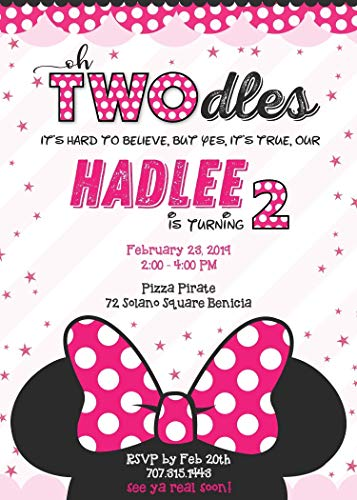 "Birthday Invitations for Girls or teen Girls - Minnie Mouse Twodles Oh Toodles"" - Polka Style Personalized custom Any age!"