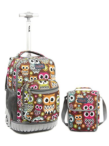 Tilami New Antifouling Design 18 Inch Wheeled Rolling Backpack Luggage & Lunch Bag(Big Eyes Owl1)