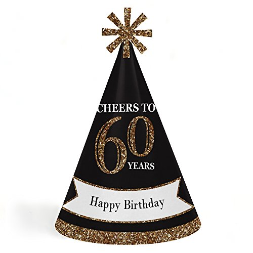 Adults 60th Birthday - Gold - Cone Birthday Party Hats for Kids and Adults - Set of 8 (Standard Size) ()