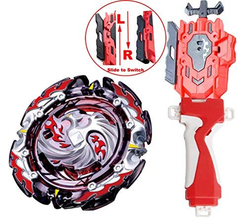 (HNY [B-131 Launcher LR & Grip Set] Bey Battling Tops Blade Burst B-131 Booster Dead Phoenix.0.at Battling Top Set + Red B-88 Bey Launcher LR + Grip Spinning Tops)