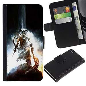 ULTIX Cases / Apple Iphone 4 / 4S / DRAGONBORN - SKY RIM ELDER SCROLS / Cuero PU Delgado caso Billetera cubierta Shell Armor Funda Case Cover Wallet Credit Card