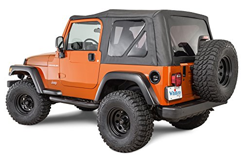 Tinted Rear Windows (Whitco Replacement Soft top with Tinted Rear Windows for 1997-2006 Jeep Wrangler TJ without Upper Doors in Black Diamond 35101235)