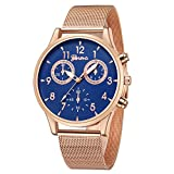 Hotkey Mens Wrist Watches Clearance Men's Fashion Sport Stainless Steel Case Leather Band Quartz Wrist Watch