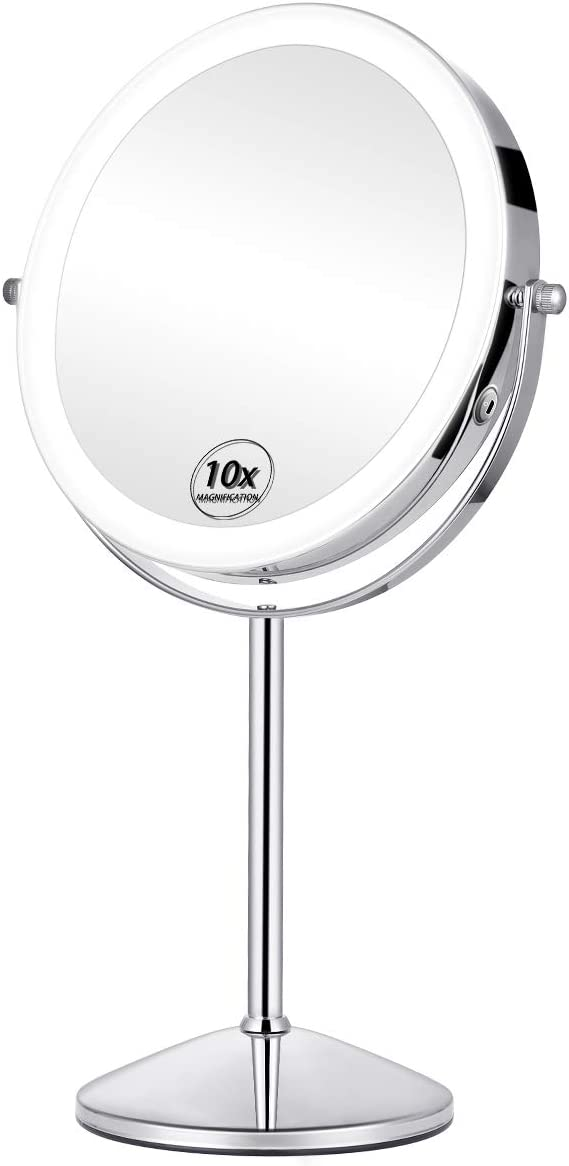 KEDSUM Rechargeable 8 1X 10X Lighted Magnifying Vanity Mirror, Double Sided Lighted Makeup Mirrors with Magnification 3 Lighting Modes, Cosmetic Mirror with Stand, Brightness Adjustable