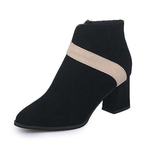 Zapatos Invierno Mujer,Beikoard Mujeres Damas De Tacón Alto Flock Mixta Color Shoes Botas Cortas Calzado Zapatos,Tacones Gruesos Puntiagudos Botas Desnuda ...