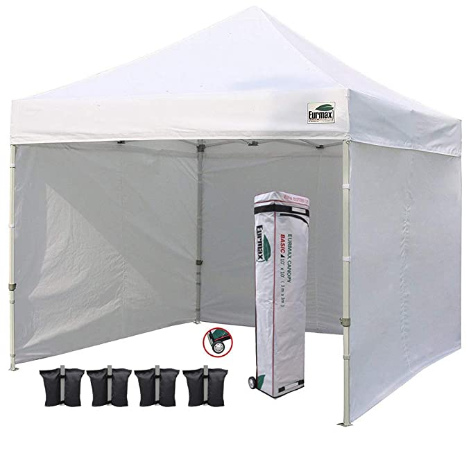Eurmax 10'x10' Pop-up Canopy Tent with 4 Removable Zipper End Side Walls and Roller Bag