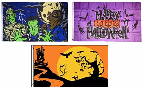 ALBATROS 3 ft x 5 ft Happy Halloween 3 Pack Flag Set #16 Combo Banner Grommets for Home and Parades, Official Party, All Weather Indoors Outdoors