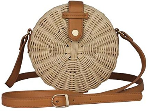Lined Button Crossbody Woven Snap Bag Straw Handwoven Circle Round Wicker Small Handmade Pinstripe Shoulder Lush Basket Pz7axa