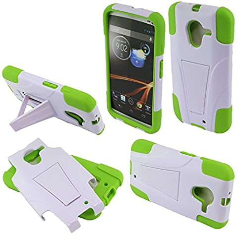 Fincibo (TM) Hybrid Dual Layer Protector Cover Case Gel Silicone With Stand For Motorola Moto X Phone XT1058 1st Gen 2013 - White/ Neon (Moto X 1st Gen Phone Covers)