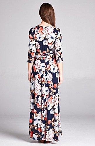 4 Dress Wrap Women's Sleeve Printed 3 V Neck Maxi Bohemian Navy Bon Rosy wtpPTT
