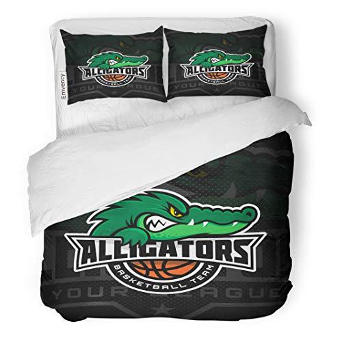 Semtomn Decor Duvet Cover Set Twin Size League Alligator Mascot for Basketball Team on Dark University 3 Piece Brushed Microfiber Fabric Print Bedding Set Cover ()