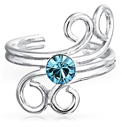 Bling Jewelry Single Simulated Aquamarine Crystal Swirl Sterling Silver Ear Cuff Earring (Swirl Silver Crystal Sterling Earrings)