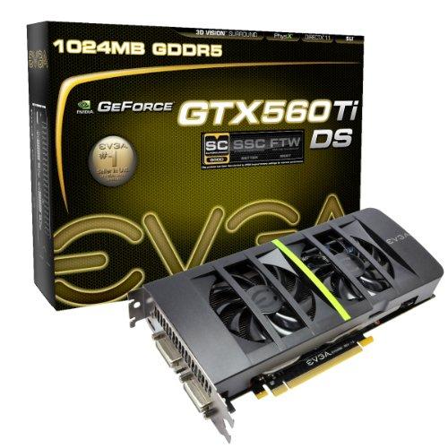 EVGA GeForce GTX 560 Ti DS Superclocked 1024 MB GDDR5 PCI Express 2.0 2DVI/Mini-HDMI SLI Ready Graphics Card, 01G-P3-1567-KR