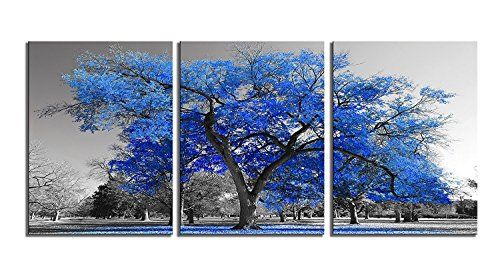 Youk-art Canvas Print Wall Art Painting Contemporary Blue Tree In Black And White Style Fall Landscape Picture Modern Giclee Artwork (Overall Size 48x24inch) Gift For Bathroom Bedroom (Blue, 24x48)