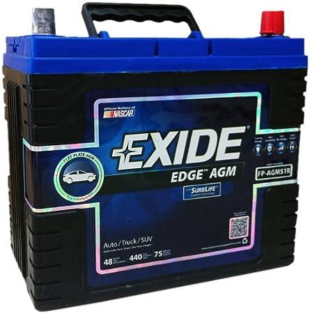 Exide Edge FP-AGM51R Flat Plate A.G.M. Sealed Automotive Battery