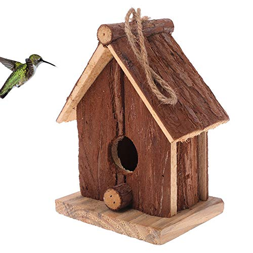 (kathson Wooden Birdhouses nest Naturals Cedar Outdoors Hanging Garden Patio Decorative for Dove/Finch/Wren/Robin/cedarand/Sparrow Small Animal/Hummingbird/Throstle/Tit,Lark etc (Mini))