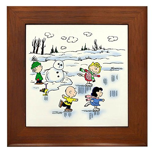 CafePress - Snow Scene - Framed Tile, Decorative Tile Wall Hanging