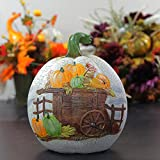 "CC Home Furnishings 8.5"" Decorative Harvest White Crackled Table Top Pumpkin with Wagon"