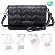 nuoku Women Small Crossbody Bag Cellphone Purse Wallet with RFID Card Slots 2 Strap Wristlet(Max 6.5'') …