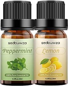 2pcs Lemon + Peppermint Essential Oil Sets Essential Oils Set 10ml - 100% Pure Essential Oils Set for Aromatherapy Kit