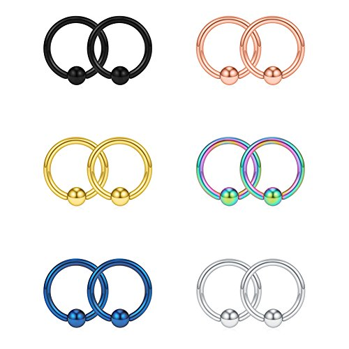 SCERRING 16G 8mm Captive Bead Piercing Ring Stainless Steel Nose Tragus Daith Helix Lip Eyebrow Hoop Rings 12PCS (Mix - 16g Ring Captive