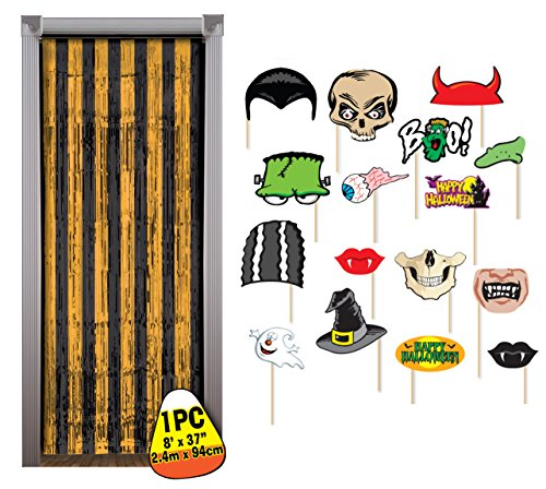 Halloween Photo Booth Props with Black & Orange Tinsel Backdrop by Express Novelties Online
