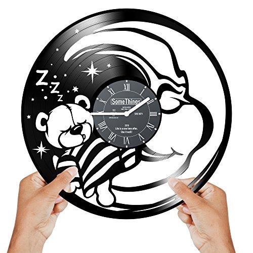 Teddy Bear Wall Clock - Teddy Bear Clock - Vinyl clock - Nursery Wall Clock - Bear Clocks for Kids - Moon Clock for Kids Room - Nursery Bear Clock - Baby Girl Nursery Wall Clock - Bears Clock Wall Décor Nursery Gift Black