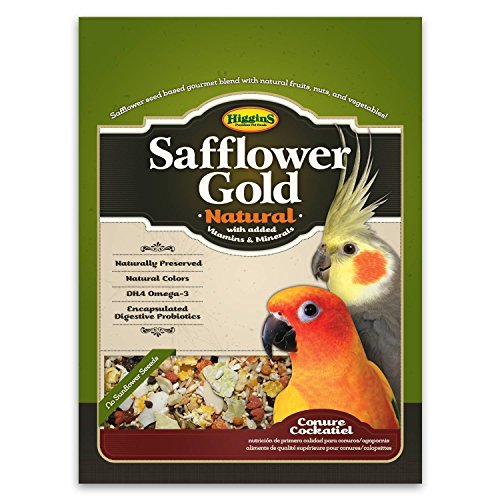 Higgins Safflower Gold Natural Food Mix for Conures & Cockatiels, 3lbs Higgins Parrot Food