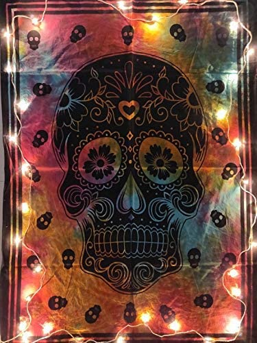 ICC Black And White Skull Halloween Tapestry Decoration Wall Decor Hanging Art Gift Grateful dead Tapestry psychedelic Tapestry Wall hanging Hippie Hippy Dorm Decor Bohemian College Dorm Tapestry