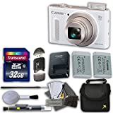 Canon Power Shot SX610 HS 20.2 MP Digital Camera (White)  with 18x Optical Zoom and Built-In Wi-Fi Bundle with 32GB High Speed Memory Card & Extra Battery and Accessories (12 Items)